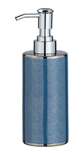 WENKO Distributore di sapone Nuria Argento/Blu - Dispenser sapone liquido, dispenser detersivo piatti Capacità: 0.3 l, Ceramica, 7 x 18 x 6 cm, Blu