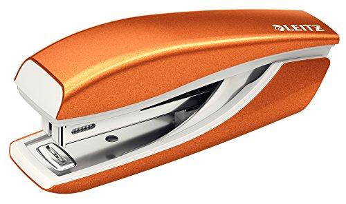 Leitz 55281044 Mini-Heftgerät (10 Blatt, Metall, Inkl. Heftklammern, WOW) metallic orange