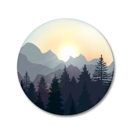 AK Wall Art Sunrise in The Mountains Forest Vinyl Sticker - Car Window Bumper Laptop - Select Size
