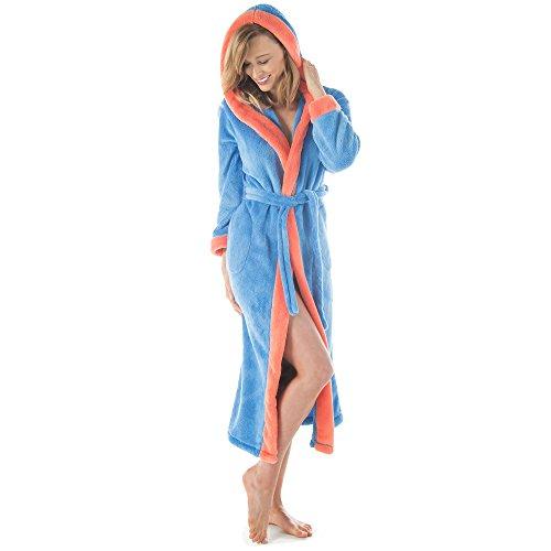 CelinaTex Ohio Bademantel Kapuze L blau lachs Mikrofaser Damen Herren Saunabademantel Sherpa-Fleece Morgenmantel