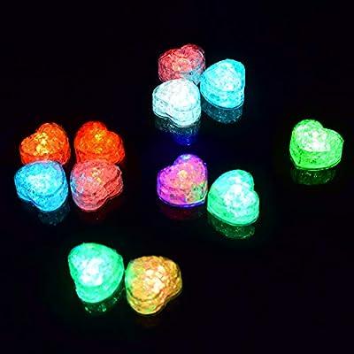M.best 12pcs LED Ice Cube, Multi-Color Flashing Glow in The Dark LED Light Up Ice Cube Molds for Party Wedding Bars Christmas Aquarium Vase Bathtub Event Party Decoration
