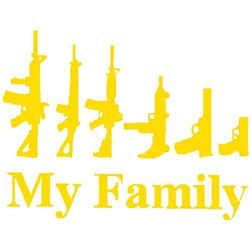YSHtanj Autoaufkleber Außendekoration Autoaufkleber My Family Assault Weapon reflektierend Auto Truck Karosserie Fenster Aufkleber Decor – Gelb