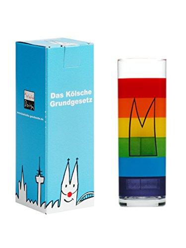 Köln Kölsch Glas ~ Regenbogen Dom ~ im Geschenkkarton Kölner Stange Kölschglas