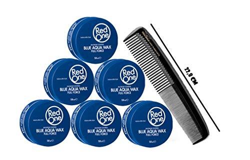 RedOne Aqua Hair Wax Blue Full Force 150ml 6 Stück + GRATIS Pegasus Kamm XXL