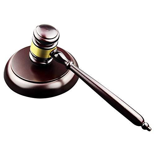 Juego de martillo de madera y bloque redondo hecho a mano con bloque para juez o venta de subasta