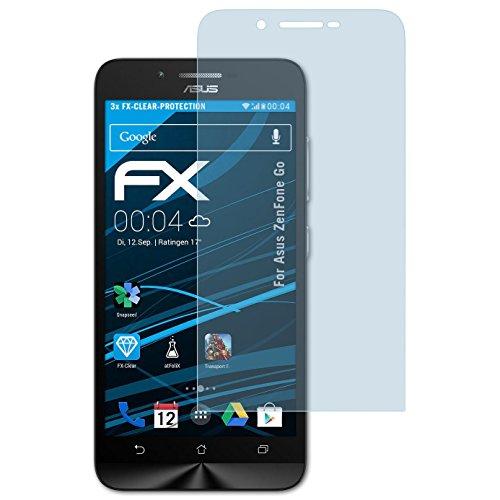 atFolix Schutzfolie kompatibel mit Asus ZenFone Go Folie, ultraklare FX Bildschirmschutzfolie (3X)