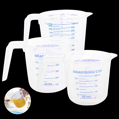 JoGoi Plastic Measuring Jug for Baker Set 3pc Large 4-Cup (1 Litre), 2-Cup (500ml) and Small 1-Cup (250 ml) - Microwave Safe - Clear, Easy to Read Measurements - Cook with Accuracy (Blue)