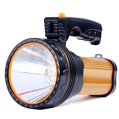 Linterna LED Recargable, 6000 Lúmenes 6000mAh Linternas Alta Potencia Súper Brillante Farol de Cámping Linterna Gran Alcance, Ideal para Acampar, Pesca Nocturna, Caza, lmpermeable IPX4 (Dorado)