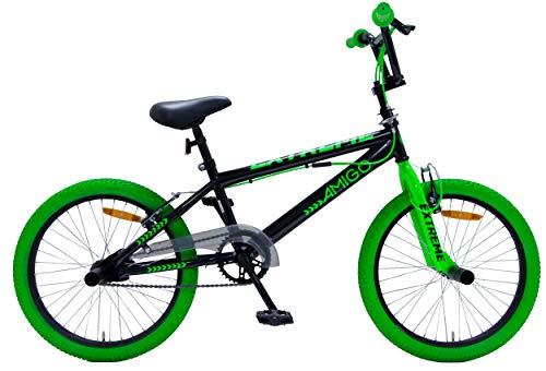 Amigo Extreme - Bicicletta per bambini 20 pollici - Per Bambino e Bambina da 5 a 9 anni - Bicicletta BMX con freni a mano - Nero/Verde