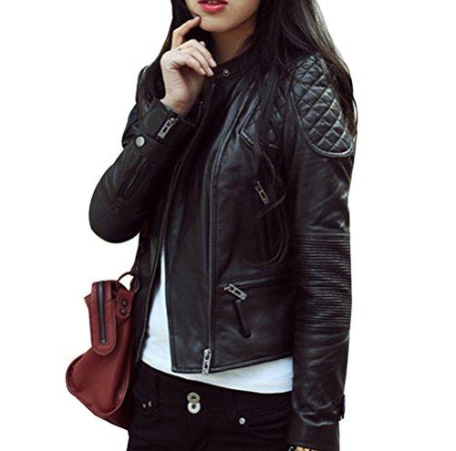 Mujer Elegante Chaqueta Cuero PU Manga Larga Moto Cazadoras Chaqueta de Motociclista Biker Abrigos Jacket S Negro