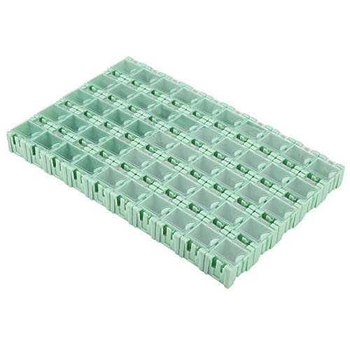 SMT Storage Boxes-50Pcs Mini scatola di immagazzinaggio di parti elettroniche portatili con fibbia in plastica verde