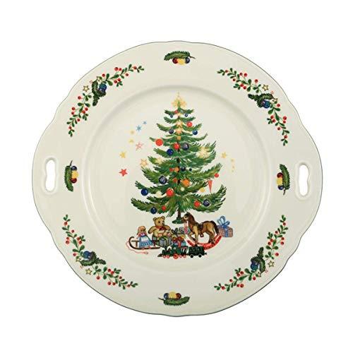 Seltmann Weiden Marieluise Weihnachten Kuchenplatte Rund, Grün/Bunt, 27.1 x 25.8 x 2.6 cm