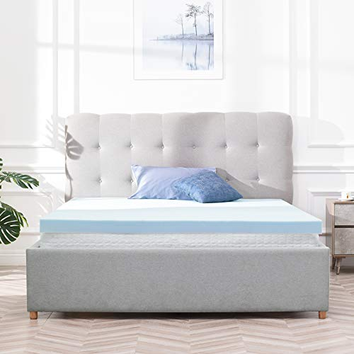 RECCI Memory Foam Mattress Topper Double Bed, Pressure Relief Mattress Topper for Back Pain, Gel Infused Foam Mattress Topper Cooling & Breathable CertiPUR-EU (Double Size - 135x190x5 cm)