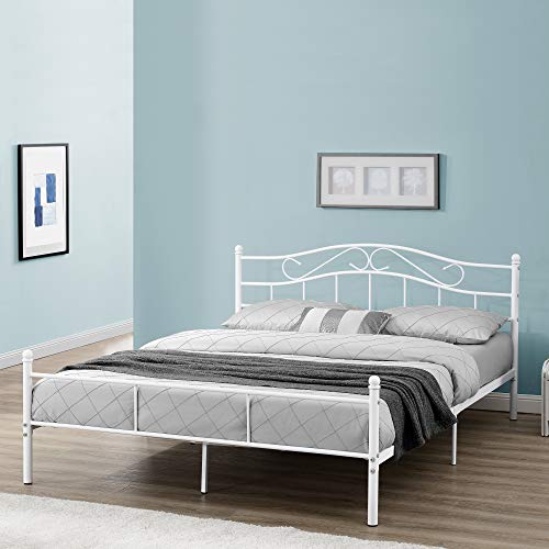[en.casa] Cama de Metal Doble (Florencia)(160 x 200cm)(Blanca) con cabecero Curvado/Recubrimiento en Polvo/somier Incluido
