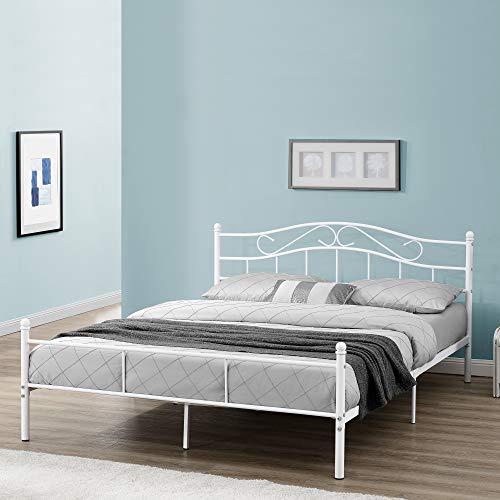 [en.casa] Metallbett 'Florenz' 180x200cm mit Kopfteil Pulverbeschichtet Lattenrost Schlafzimmerbett Doppelbett Bett Weiß Ehebett