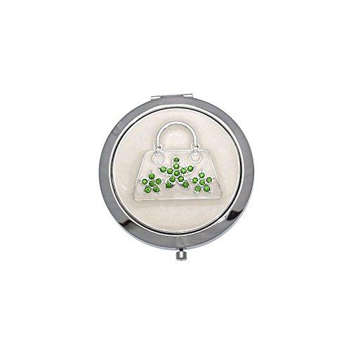 Madam Argent Vert Compact Double Miroir de Sac à Main de Cristal