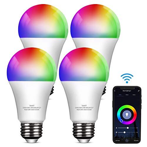 YU YUSING Smart Glühbirne E27, 9W LED Lampen RGB Dimmbar Birne 806Lm, Kompatibel mit Alexa und Google Home Farbwechselbirne RGBCW, 3000k-6500k, 4er