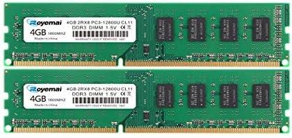 DDR3 12800U 1600MHz 8GB Kit (2x4GB) PC3-12800 8GB 1600 Dimm RAM 2Rx8 240-pin CL11 1.5V Desktop RAM Memory Module