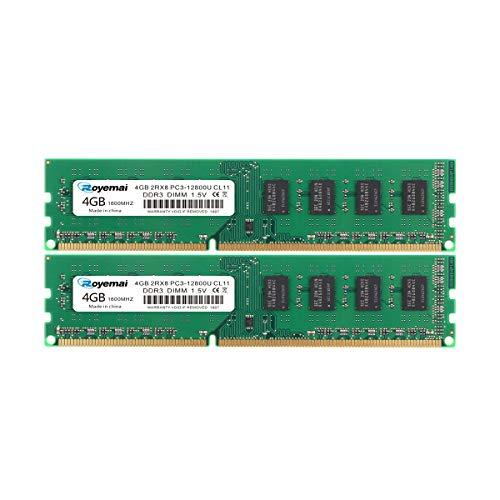 DUOMEIQI 8 GB Kit (2X 4 GB) DDR3 1600 MHz PC3 12800U RAM 2Rx8 240-pin 1,5V CL11 Desktop Arbeitsspeicher Upgrade Chips