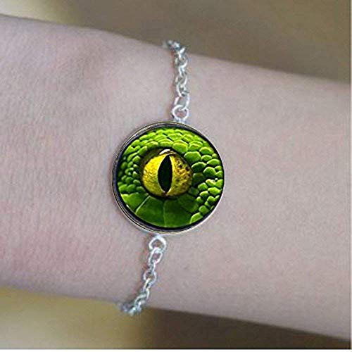 Pulseras de ojo de dragón verde, joyas de ojo de dragón cúpula de vidrio