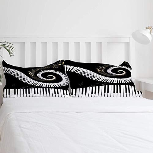Piano Keys Staff Juego de funda nórdica de 3 piezas en blanco y negro Juego de edredón moderno Juego de ropa de cama Microfibra hipoalergénica ultra suave (1 funda nórdica y 2 fundas de almohada)