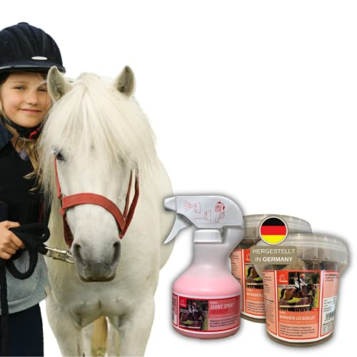 EMMA croccantini per cavalli + spray per la criniera spray per la coda rosa + profumo per cavalli e pony I spray per la lucentezza + banana I set per la cura del cavallo per bambini 3 pezzi
