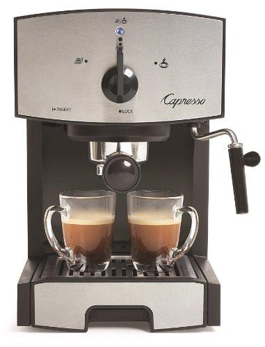Capresso 117.05 Bomba Espresso E Cappuccino Machine Ec50, Preto/Inoxidável Aço Inoxidável Um Tamanho