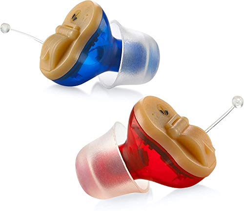 MicroHearing Invisible CIC Hearing Aid for Adults Invisible Hearing Magic Ear Hearing Amplifier in-Ear Mini Sound Enhancer Set, Near-Invisible Pair (Red and Blue)