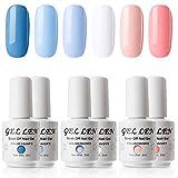 Gellen Soak Off UV Gel Polish Set Blue Peach Colors, 8ml each Nail