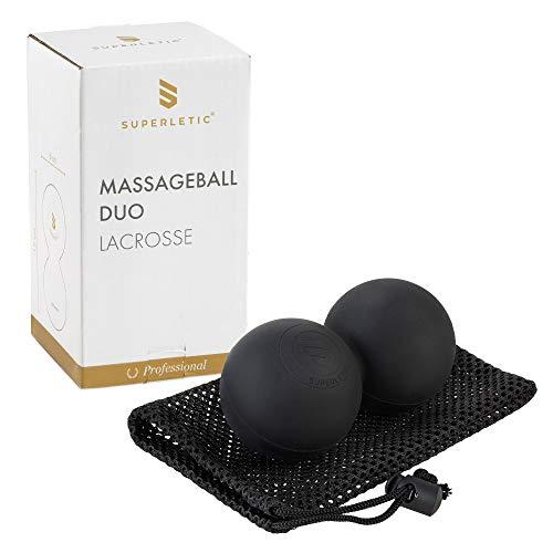 SUPERLETIC - Pelota de masaje Lacrosse Professional, diámetro 6 x 12 cm, goma dura, para masajes profundos de punto de gatillo y de base, contra tensiones