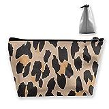 Leopard Animal Print Makeup Bag Gran Bolsa de Viaje de Almacenamiento Trapezoidal Wash Cosmetic Pouch Pencil Holder Zipper