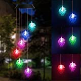 DOUBLEZHE Pine Cone Solar Wind Chime Solar Powered Waterproof LED Wind Chime Color Changing for Outdoor Patio Garden Home