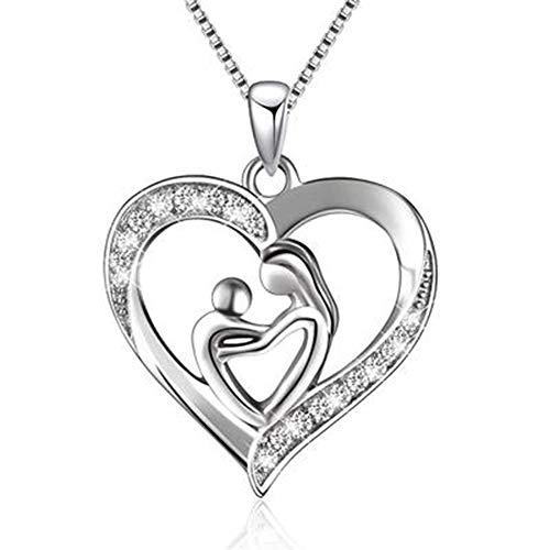 WZJHY Collier avec Pendentif, Argent Sterling 925 Pendentif en Forme De Coeur Le pour Mères Et Futures Mamans