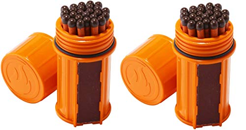 UCO Stormproof Match Kit with Waterproof Case, 25 Stormproof Matches and 3 Strikers - Orange(2-Pack)