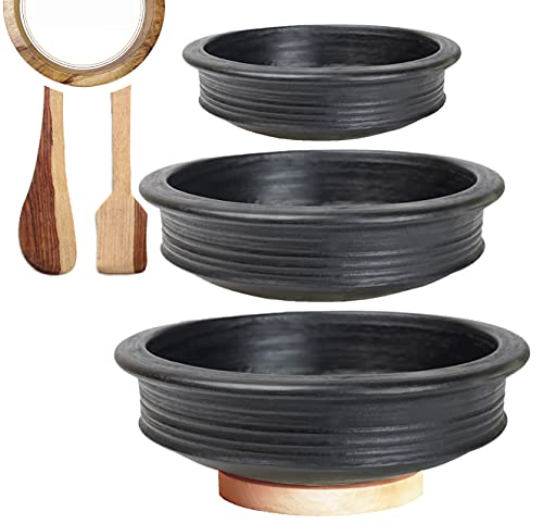 Craftsman India online Pottery Earthen Kadai/Clay Pots Combo for Cooking Pre-Seasoned (Black, 1, 2, 3 L), 32 cm