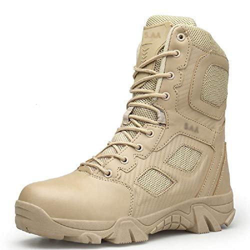QINHE Botas De Combate Bota del Desierto Al Aire Libre Senderismo Zapatos del Ejército Botas Tácticas De Patrulla Ligeras Botas Antideslizantes para Montañismo Bota Militar De Gran Tamaño,Khaki-42