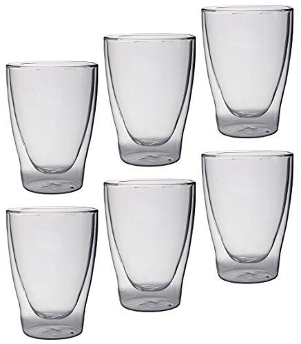 Feelino 6x 300ml Lattechino doppelwandige Latte Macchiato-Gläser, 6er-Set 300ml XL Thermo-Gläser mit Schwebe-Effekt für Tee, Kaffee, Cocktails