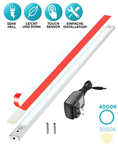 60cm LED Unterbauleuchte 4000K, Sensor Switch, flach, überall montieren, aufkleben, Inklusive Alle Zubehör, LED Nachtlicht, kühles Weiß, Neutralweiß