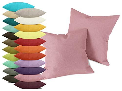 npluseins Doppelpack zum Sparpreis - Milano - Kissenhüllen erhältlich in 23 Unifarben und 2 verschiedenen Größen - hochwertiger Polsterstoff mit Perleffekt, Altrosa, 40 x 40 cm