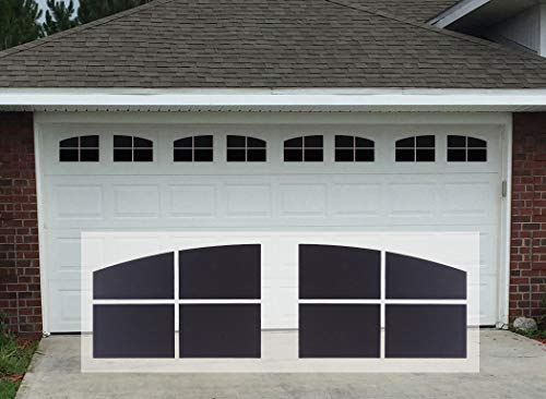 Sanfurney Magnetic Garage Door Windows Panes Arch Style Pre-Cut Faux Fake Decorative Window Decals for 2 car Garage Kit, 8 Sections 12.1