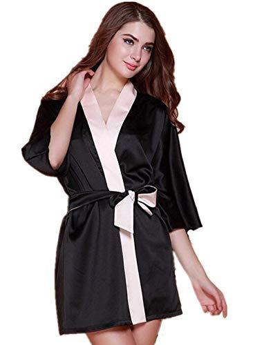 HaiDean dames ochtendjas zwart kimono van lange mouwen satijn badjas V-hals jongens chic met riem pyjama nachthemd