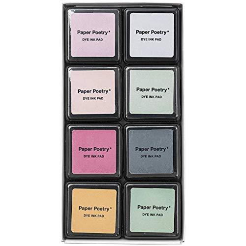 Rico Design Paper Poetry Tusche-Stempelkissen Set - 8 Farben Smoky Colours Mix - Stempelpads zum Basteln, Malen & Scrapbooking