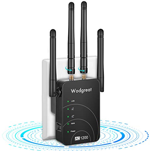 WiFi Range Extender, 1200Mbps Signal Booster for Home, Dual Band 2.4G and 5G WiFi Extender Wireless Internet Amplifier, WiFi Repeater with 4 Antennas, 360° Full Coverage, Wide Compatibility,Easy Setup