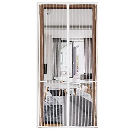 2021 Upgraded Magnetic Screen Door 38'x82', 36 Magnets Heavy Duty Mesh Door Net, Retractable Dog Pet Door Screen Protector for Front Door Patio, White