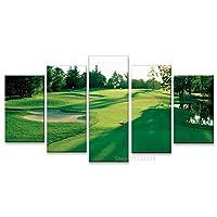 SJVR 5枚パネル 5つのキャンバス絵画 モダンポスター家の装飾壁アート写真リビングルーム5ピースゴルフコースグリーンランドペインティングキャンバスプリント フレームなし