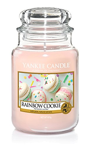 Yankee Candle Rainbow Cookie Glaskerze, pink, 10,7 x 10,7 x 16,8 cm