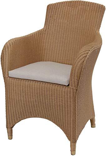 korb.outlet Loom Sessel Sydney Esszimmersessel Esszimmer Stuhl mit Armlehne Loomsessel mit Polster (Natur)