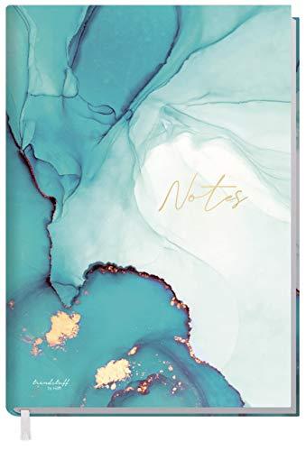 Notizbuch A5 liniert [Smaragd Gold] von Trendstuff by Häfft | 126 Seiten, 63 Blatt | ideal als Tagebuch, Bullet Journal, Ideenbuch, Schreibheft | nachhaltig & klimaneutral