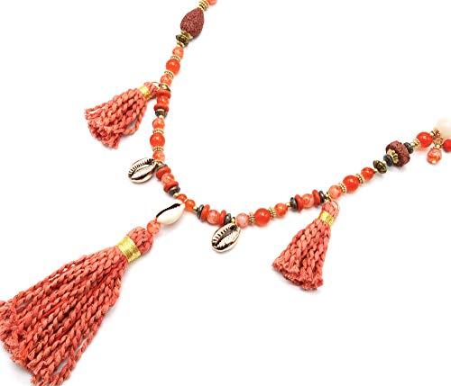 Oh My Shop CL2304F – Collar largo con perlas de cristal y pompones trenzados, naranja