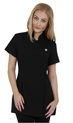 Proluxe Signature Button Beauty Tunic - Hairdressing Massage Therapist Spa Health Work Nail Salon Uniform - Available in 9 Colours (18, Black)